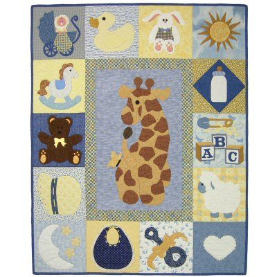 Baby Sampler Quilt Pattern http://www.victorianaquiltdesigns.com/VictorianaQuilters/PatternPage/BabySampler/BabySampler.htm #quilting #giraffe #bunny #teddybear #lamb #rockinghorse