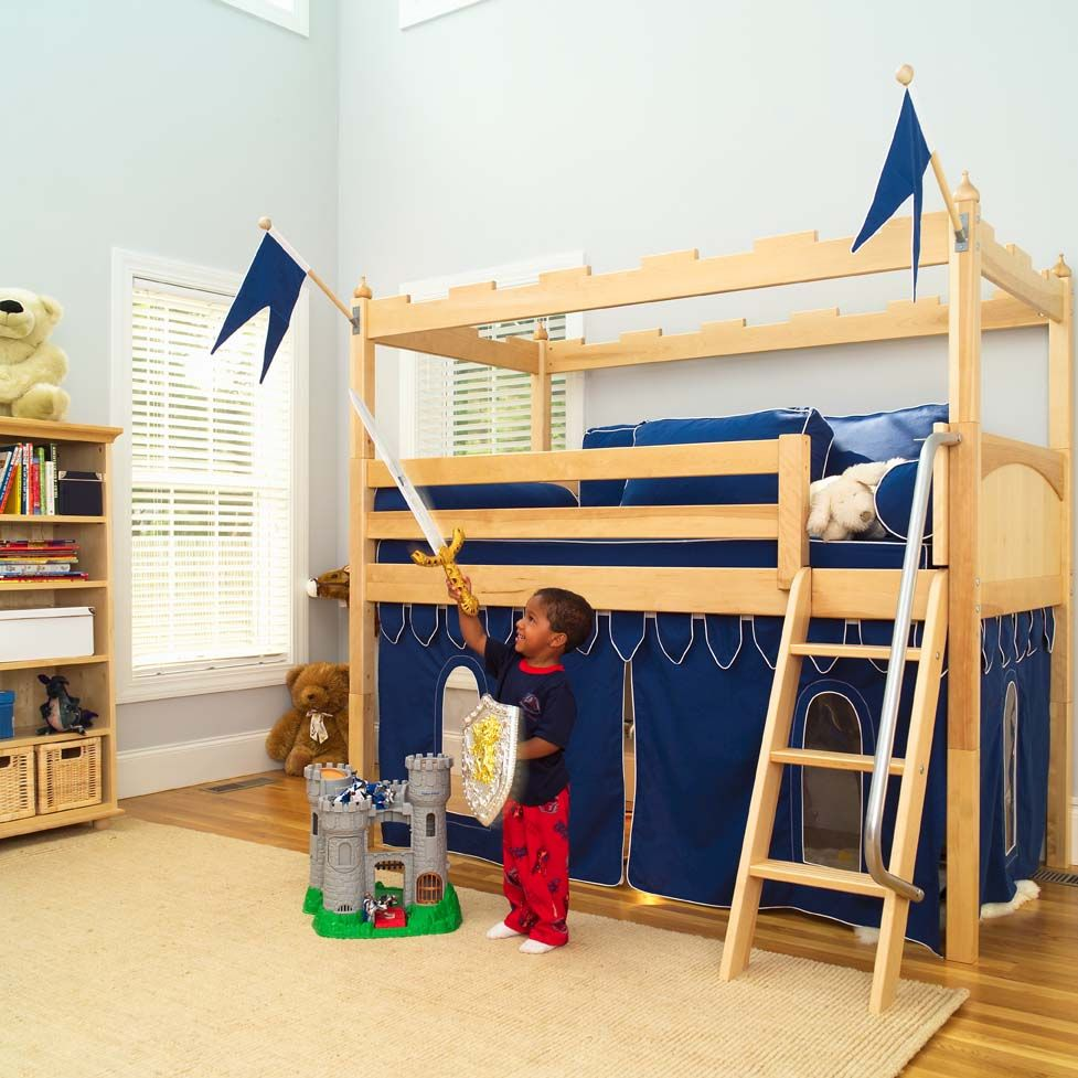 Twin low loft bed with slide  Camelot Castle Low Loft Bed by Maxtrix Kids   Playroom