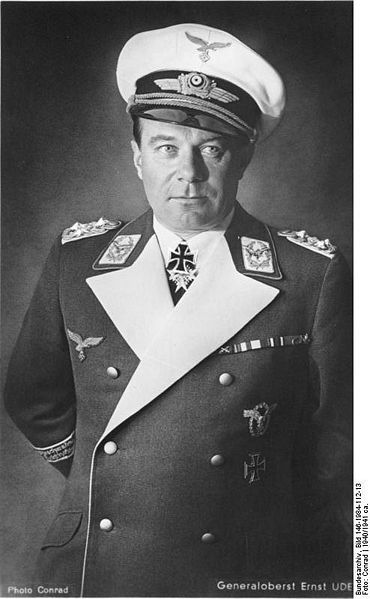 Ernst Udet - German WWI ace    Ernst Udet could already fly upon joining the Luftwaffe in September 1915. He shot down his first enemy plane on 18 March, 1916 in a lone attack against 22 French aircraft.