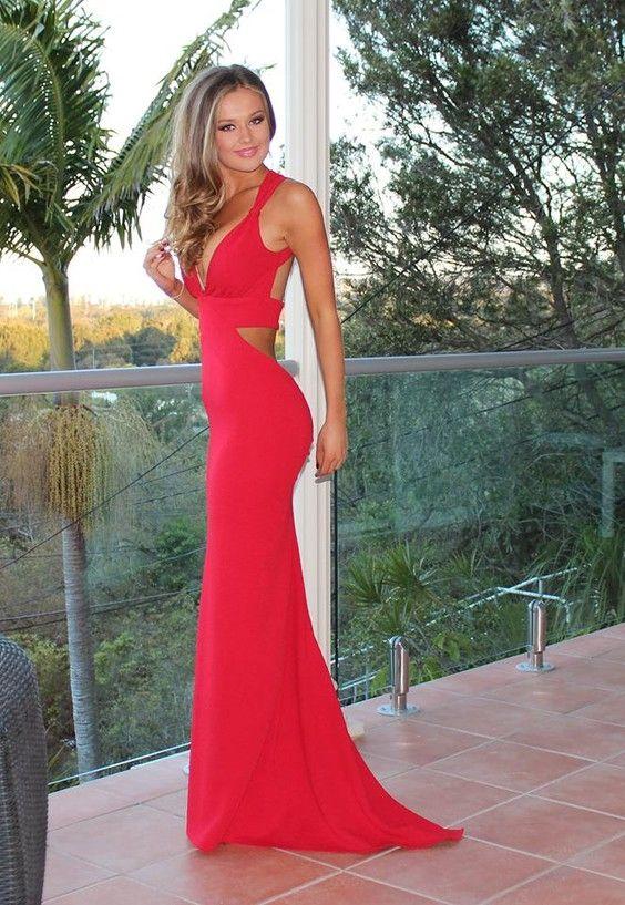 Mermaid V-Neck Sweep Train Red Open Back Chiffon Sleeveless Prom ...