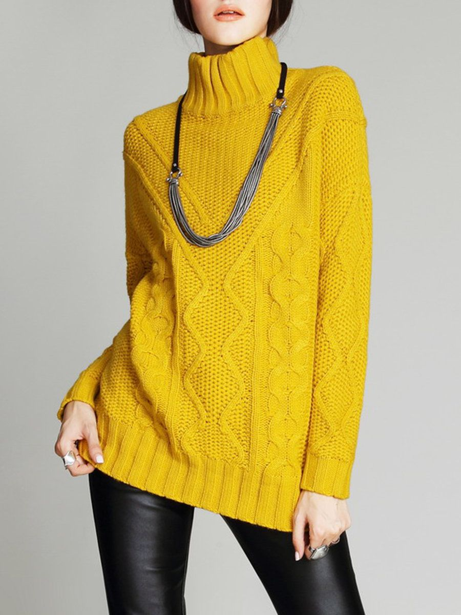 AdoreWe StyleWe Sweaters - VC Yellow Plain Knitted Basic ...