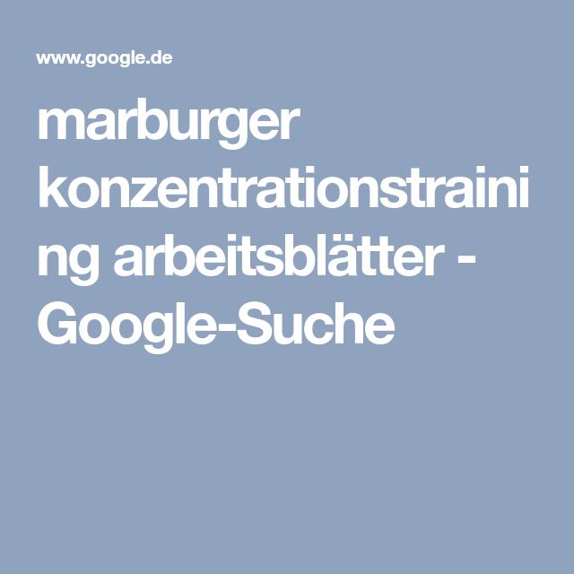 marburger konzentrationstraining arbeitsblätter - Google-Suche