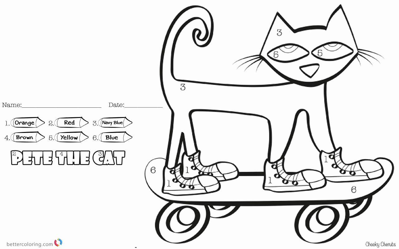 Pete The Cat Coloring Page Inspirational Pete The Cat Coloring Pages Color By Number Skateboard Halaman Mewarnai