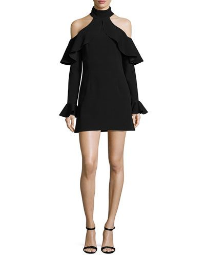 Ruffled Mock-Neck Cold-Shoulder Dress, Black