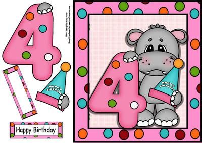 "Happy 4th Birthday Hippo on Craftsuprint designed by Amy Perry - Happy 4th Birthday Hippo in lovely pink polka dot frame, also has decoupage and choice of tag ""Happy Birthday"" and a blank tag for your own sentiment - Now available for download!"