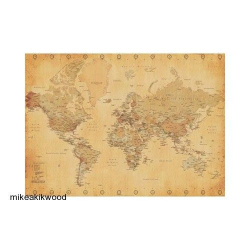 Vintage world map giant poster print 55x39 maps prints decor wall vintage world map giant poster print 55x39 maps prints decor wall art college vintage gumiabroncs Images