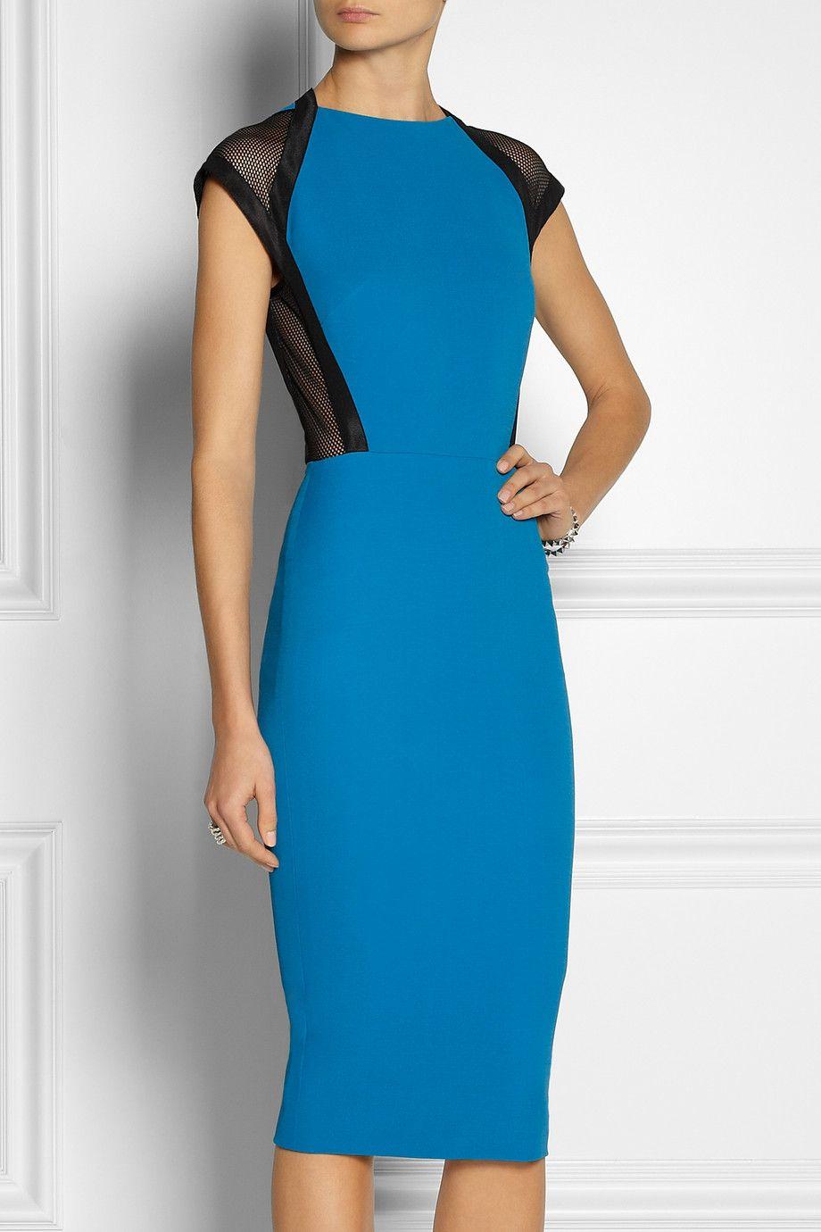 Victoria Beckham Mesh Trimmed Silk And Wool Blend Dress Net A Porter Com Dresses Business Dresses Casual Dresses For Women [ 1380 x 920 Pixel ]