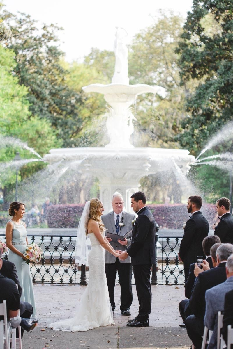 A Spring Destination Wedding In Savannah At Forsyth Park Fountain And Station Featuring Dreams Become Reality All About You Entertainment Izzy