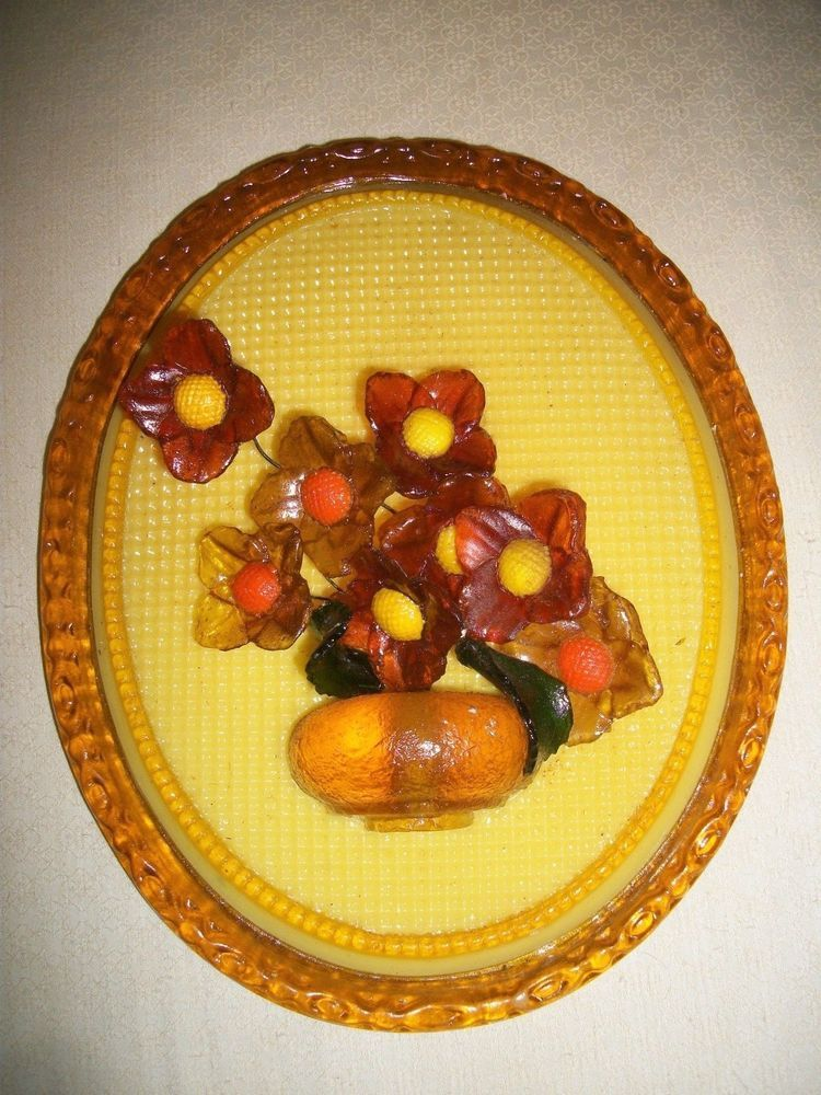VTG WONDERMOLD IND, U.S.A WALL DECOR Acrylic Resin Flowers Mid ...