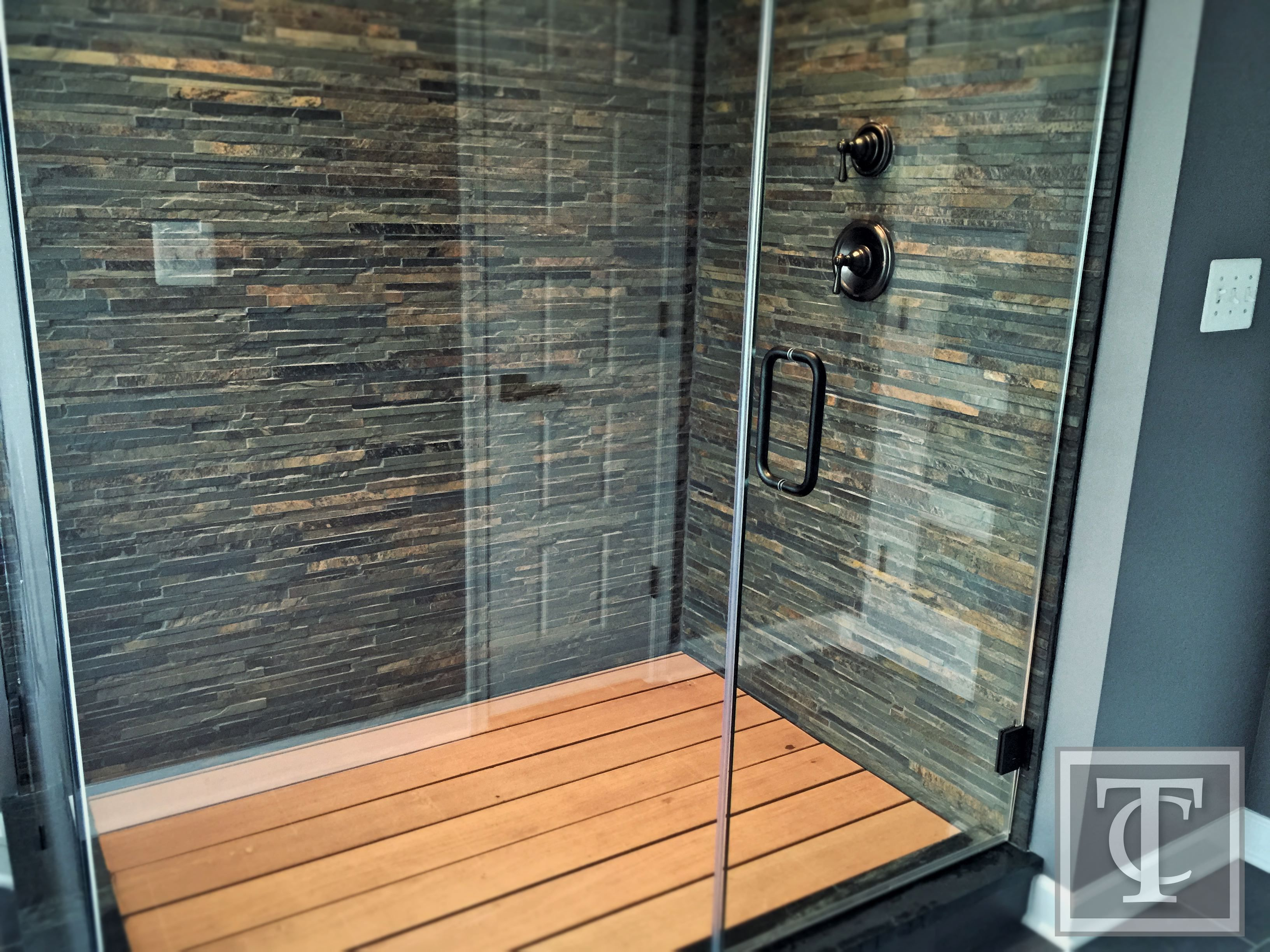 Slate Shower Walls And Wood Shower Floor