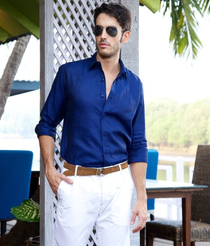 Navy Blue Linen Shirt for Men | Suits of Style | Pinterest | Navy ...