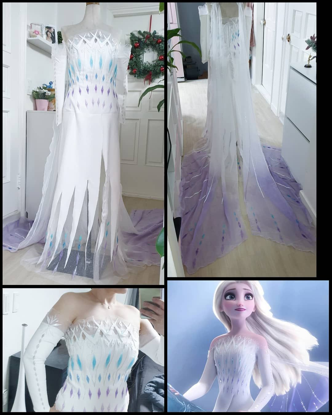 Sakura Chiisai En Instagram Nearly All Get Finish Of My Elsa Spirit Dress Cosplay Only My Trousers Ar In 2020 Disney Princess Outfits Elsa Dress Dresses