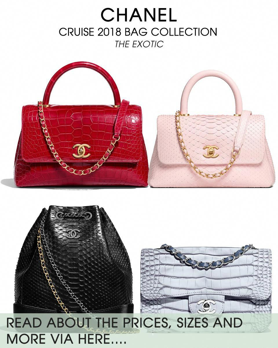 d8f1602fffac Chanel Cruise 2018 Exotic Bag Collection - the Coco Handle Bag is now  available in either Python or Crocodile in bright colors. See more via here.
