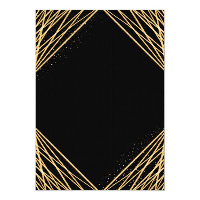 Black Gold Geometric Abstract Bachelorette Weekend Invitation