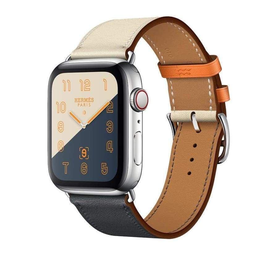 Leather Single Tour Apple Watch Band / Strap, Blue & White