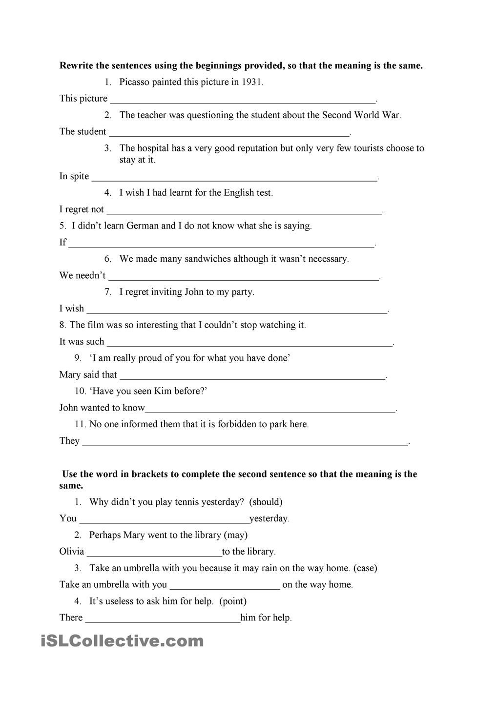 Sentence Transformation Gramatica Inglesa Ingles Paraphrasing Example Pdf