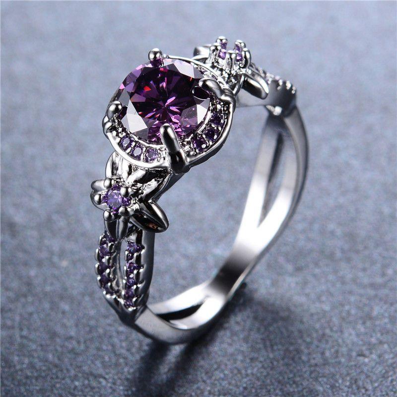 925 Sterling Silver 1 Ct  Purple Sapphire Gemstone Engagement Rings For Women #JewelsForum #EngagementRing #Anniversary