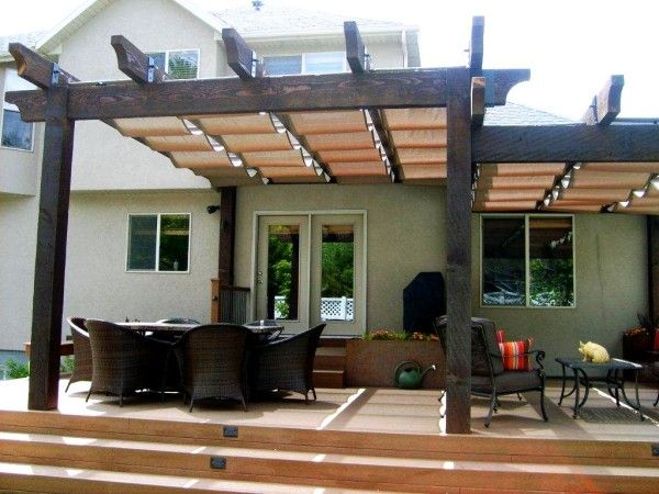 Image Of Enthralling Wood Patio Awnings Designs With Recessed Stair Lighting Outdoor And Ceramic Pig Decor