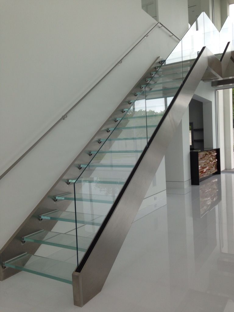 Glass Stair Treads With Glass And Stainless Steel Handrails