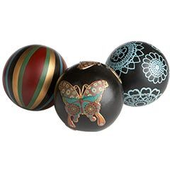 Stripe, Butterfly & Floral Spheres - Set of 3