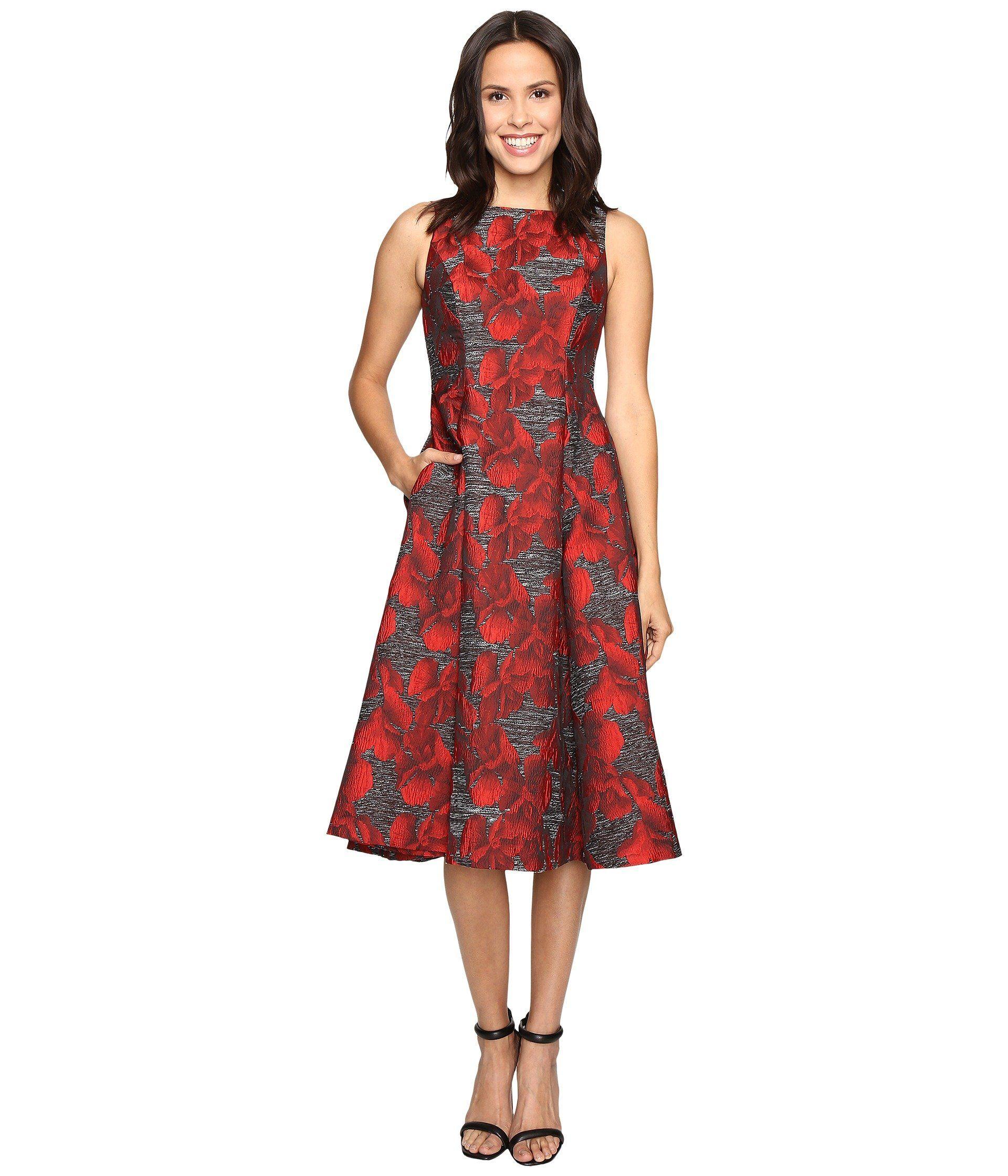 12ea01ff987 ADRIANNA PAPELL Sleeveless Jacquard Tea Length Dress.  adriannapapell   cloth