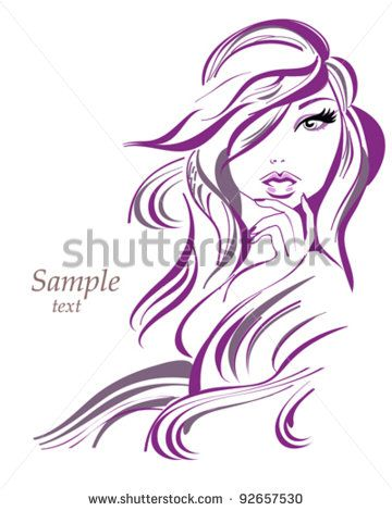 Beautiful woman with long hair in lines, background - stock vector