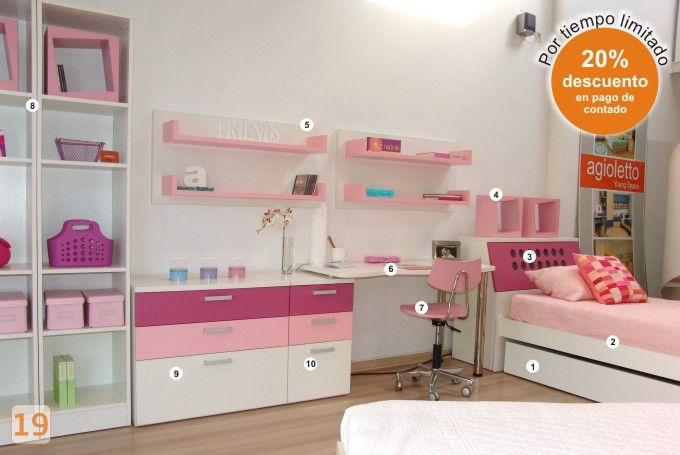 Mueble habitacion nenas agioletto muebles infantiles for Muebles infantiles juveniles