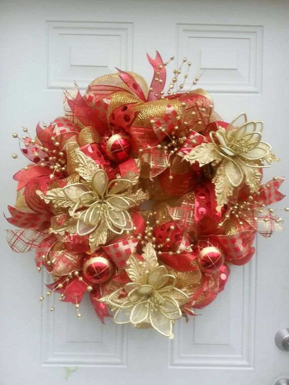 Red And Gold Deco Mesh Christmas Wreath Christmas Decorations Holiday Decor Red Wreath Deco Mesh Christmas Wreaths Christmas Mesh Wreaths Christmas Wreaths Diy