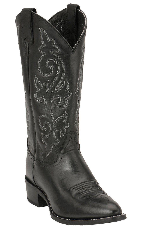 e9bcf78652f Justin Men's Black London Calf Classic Western Boots | Justin Cowboy ...