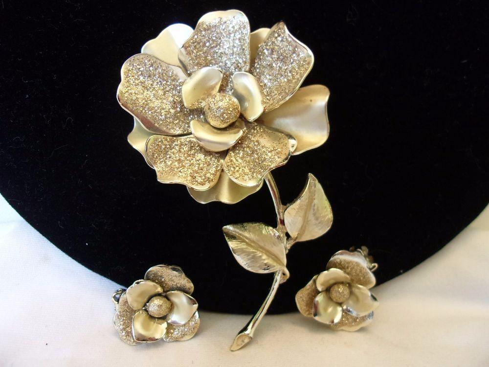 CORO Flower Iridescent Brooch Earrings Set Vintage 1960s ...