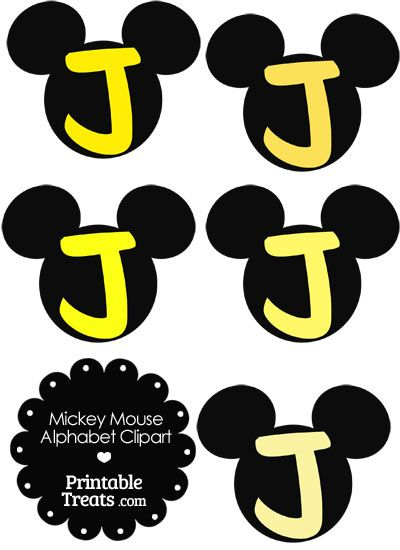 Yellow Mickey Mouse Head Letter J Clipart Alphabet Pinterest