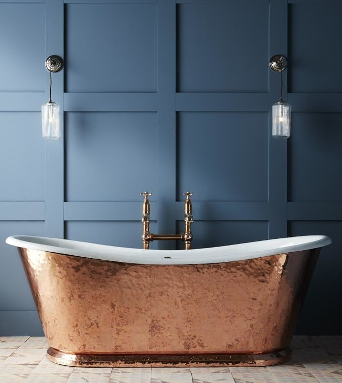 Drummonds_The Hammered Copper Wye cast iron bateau bath tub ...