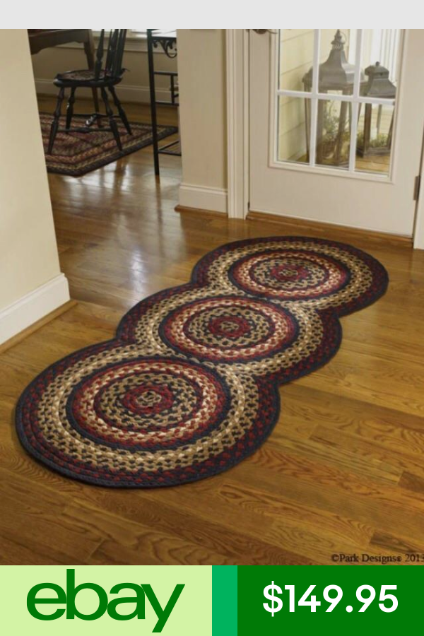 Folk Art Braided Country Area Rug Runner By Park Designs Large 30 X72 Circles Braided Rug Diy Diy Rug Braided Area Rugs