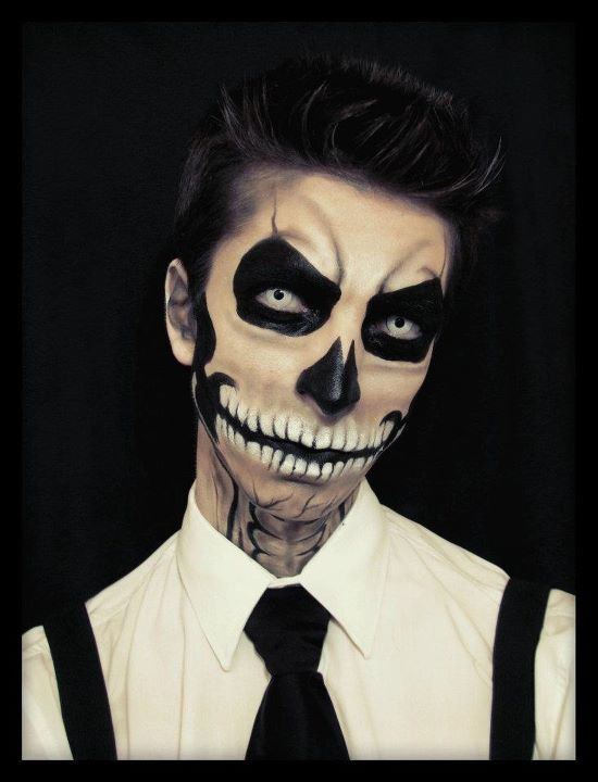 Skull Makeup idea by Luciana Romero / Paired with white FX zombie-styled contacts ~ http://www.pinterest.com/pin/350717889705763104/