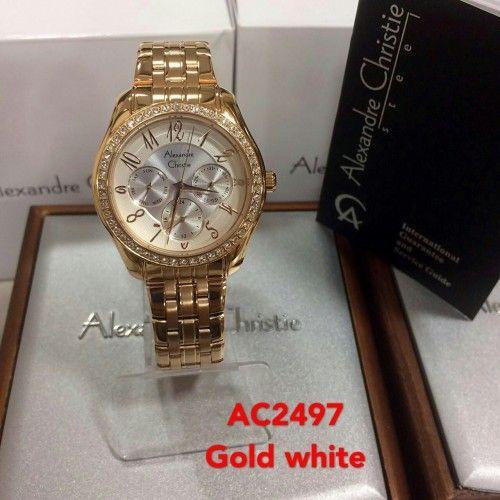 JAM ANALOG LADY ALEXANDRE CHRISTIE AC2497 ROSE GOLD PLAT PUTIH ... b68c41476d