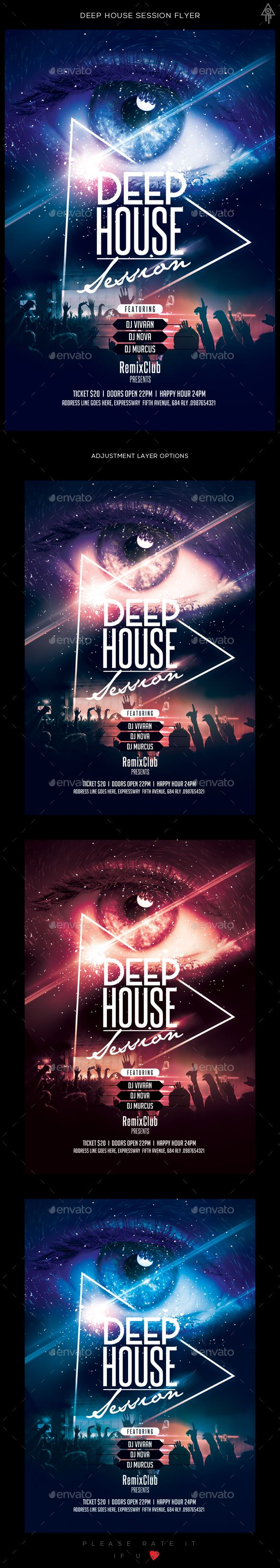 Deep House Session Flyer Template PSD. Download here: https://graphicriver.net/item/deep-house-session-flyer/17180936?ref=ksioks