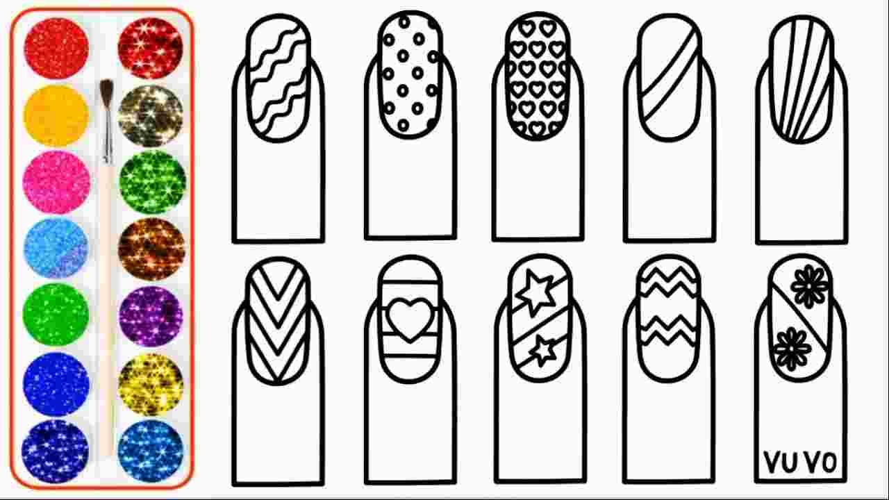 Nail Art Coloring Pages Glitter Nail Art Drawing For Kids