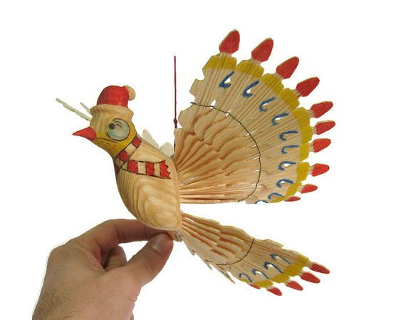 Christmas bird carved mobile bird d cor wooden art for Mobili wooden art