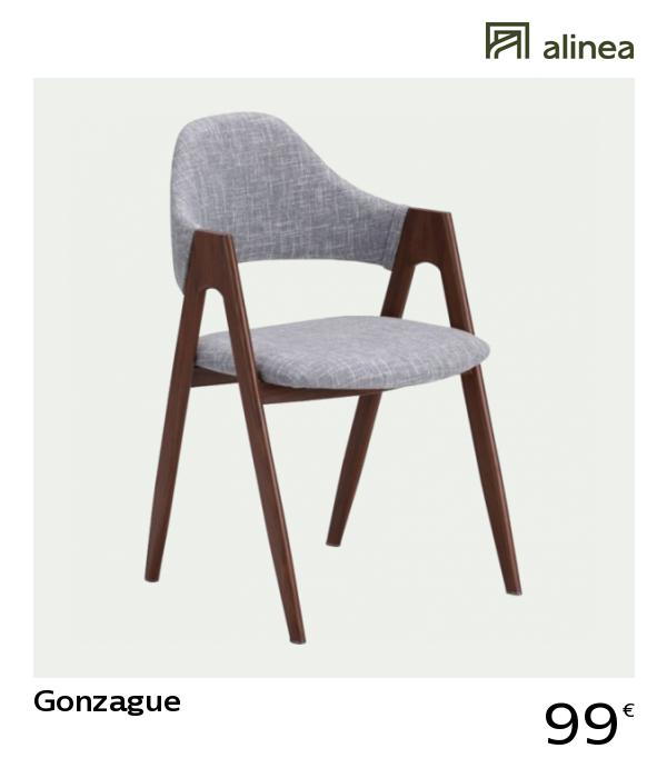 Alinea Gonzague Chaise En Tissu Gris Clair Et Pietement Original