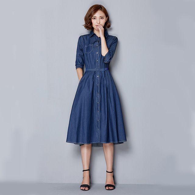 Corea Casual Jeans Vestido 2015 Señoras Elegantes Vestido Quinta ...