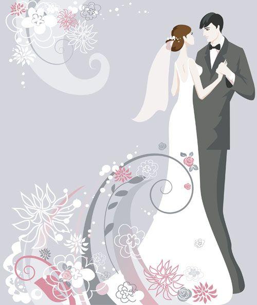 Set Of Romantic Wedding Vector Background 01 Wedding Vector Wedding Background Vector Background
