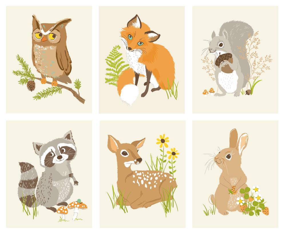 Woodland Animal Stickers Woodland Animal Friends Art