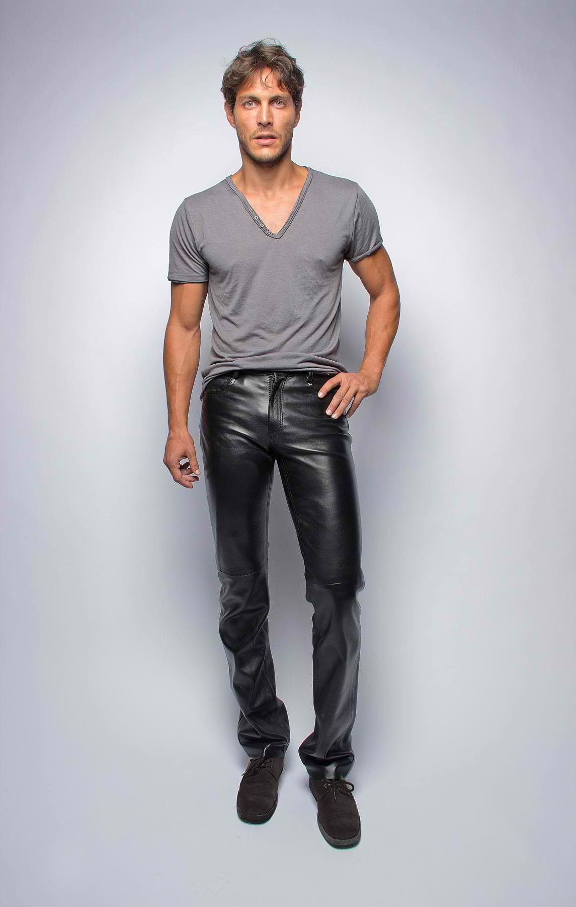 men in leather pants. Black Bedroom Furniture Sets. Home Design Ideas
