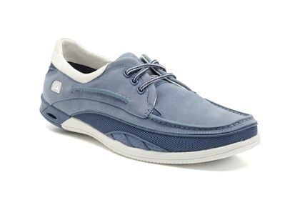 Mens Sports Shoes - Orson Lace in Denim Blue Leather from Clarks shoes