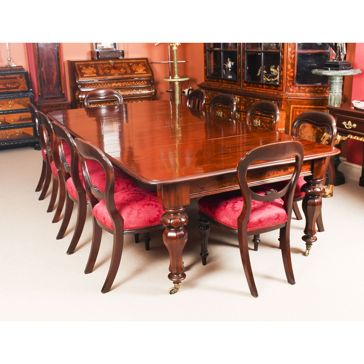 Antique William Iv Mahogany Dining Table Set 10 Chairs Circa