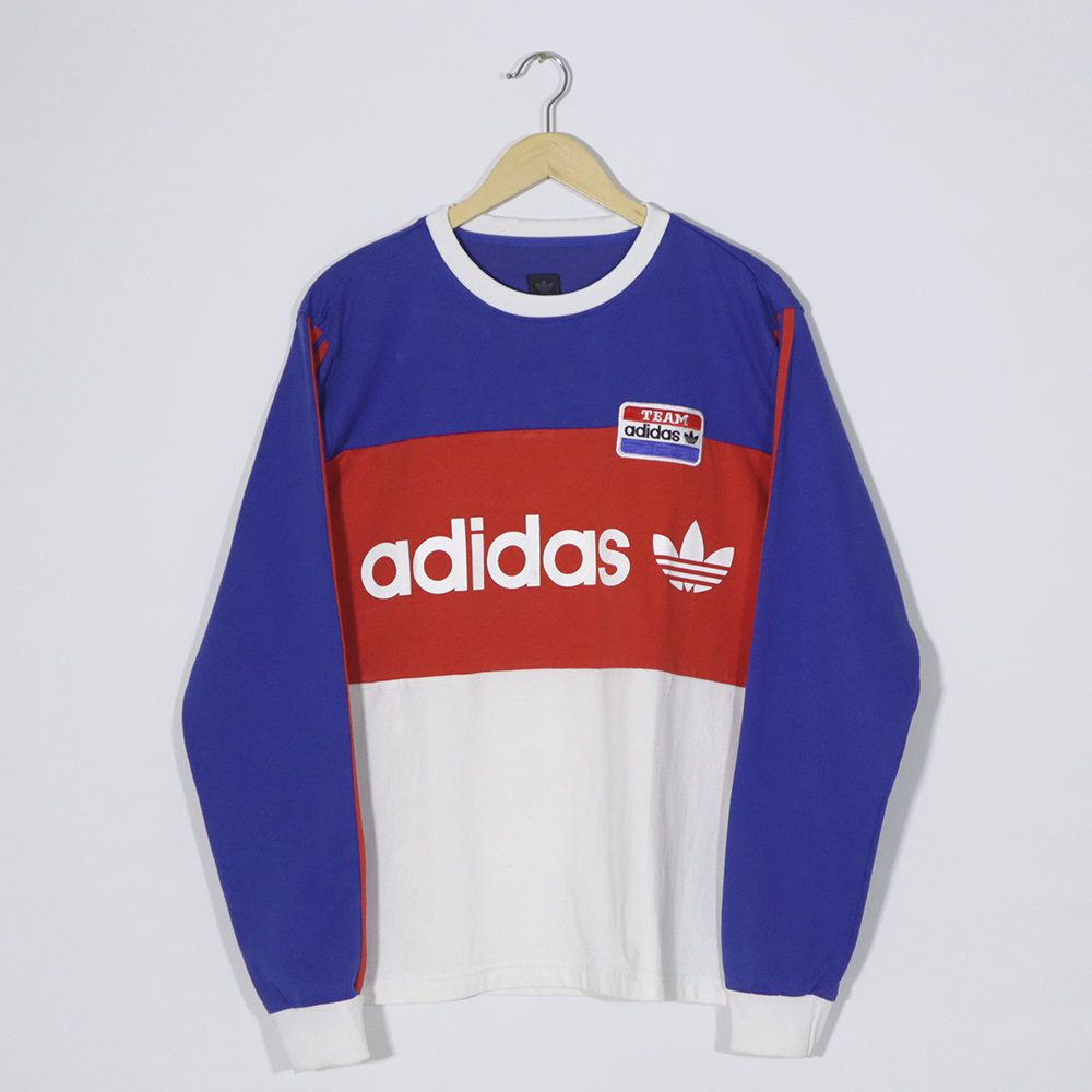 Vintage 90s Adidas Crewneck Pullover Jumper Jersey Long Sleeve Adidas Team Blue Red White Adidas Big Logo Size L Large Red And White Adidas Pullover Vintage Adidas [ 1000 x 1000 Pixel ]