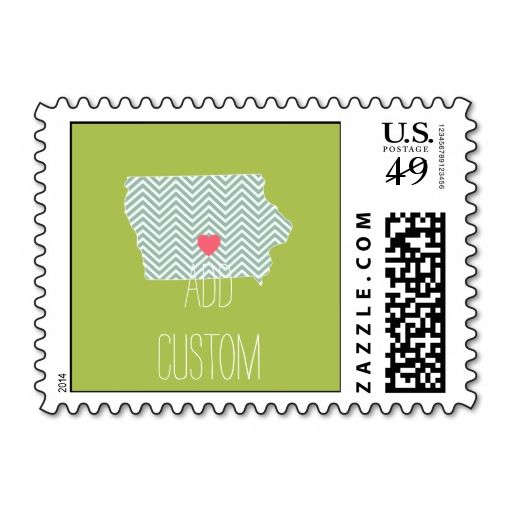 Iowa State Map Outline With Heart And Custom Text Postage Stamps