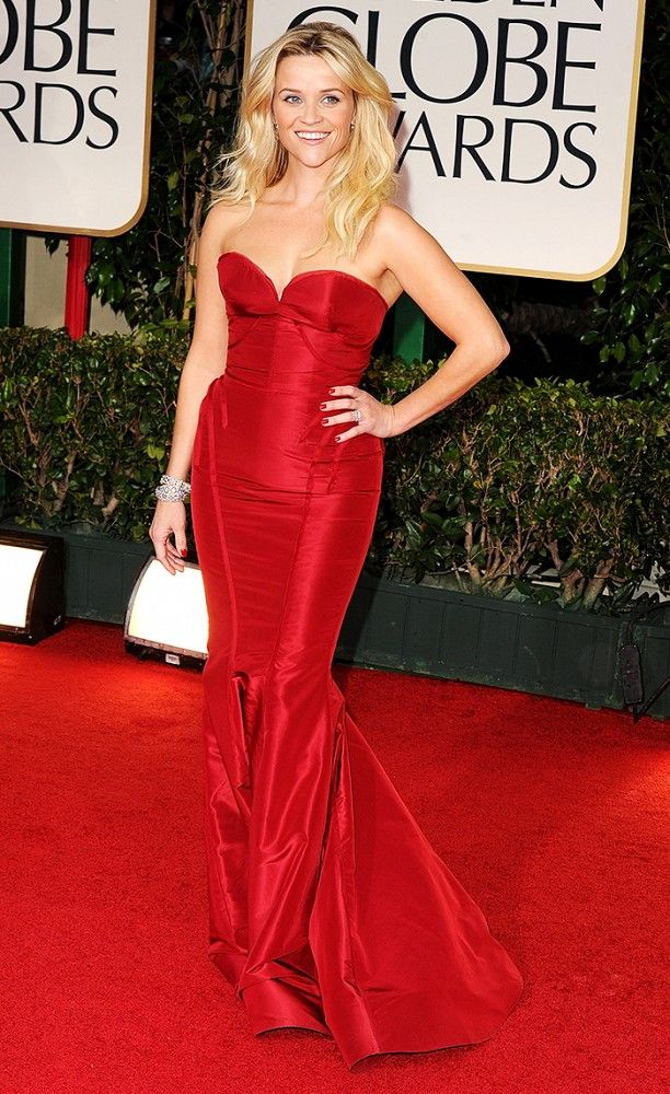Reese Witherspoon looks like a million bucks in this red Zac Posen gown at the Golden Globes