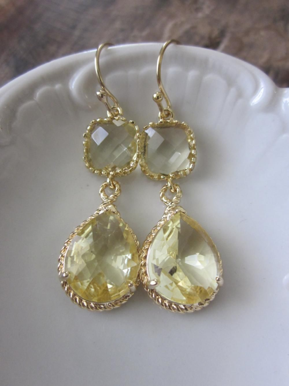 Citrine Earrings Yellow Gold Teardrop Gl