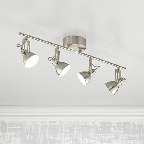 Pro track noel 4 light led satin nickel track light kit noel this four light track fixture has a retro look and energy efficient led modules aloadofball Gallery